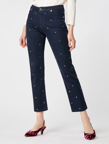 Rhinestone embellished straight-leg jeans