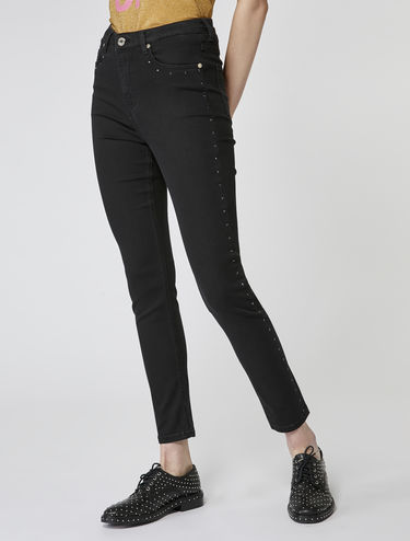 Jean skinny avec bandes latérales à strass