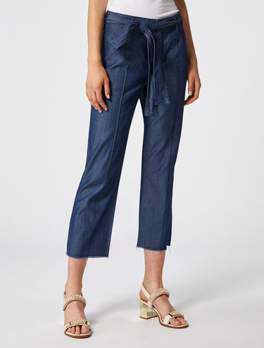 Wide-leg trousers in fluid twill