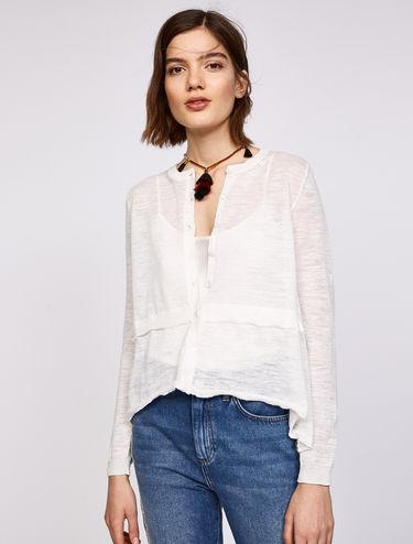 A-line linen-blend cardigan