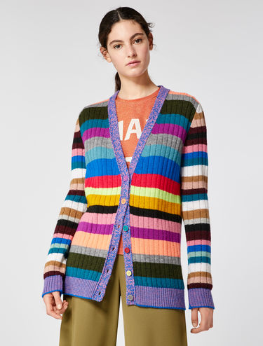 Cardigan multicolor in lana/alpaca