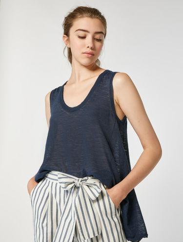 A-line tricot linen blend top