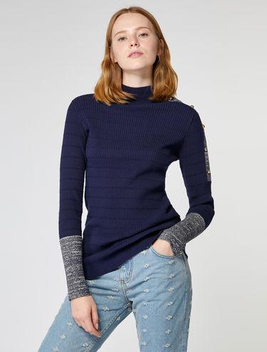 Jerseypullover mit Schulterknöpfen