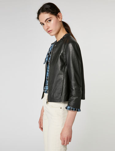 Ruffle detail leather jacket