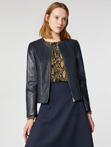 Leather jacket with eyelet detail