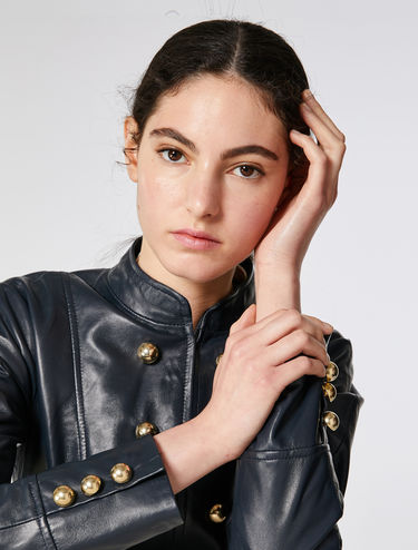 Button detail leather jacket