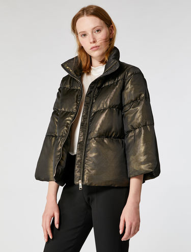 Quilted down jacket with laminate sheen