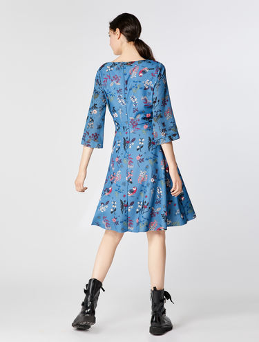 Corolla-Kleid aus Jersey und Seide