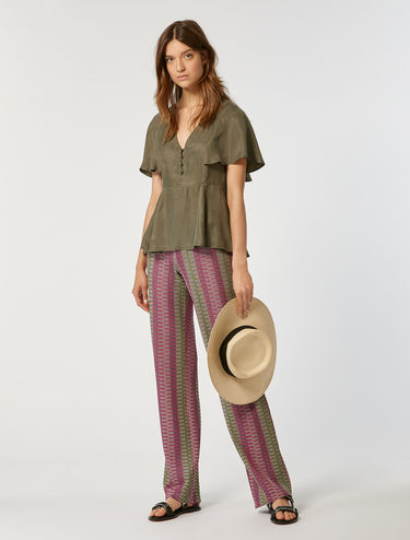 Micro-pattern jersey trousers