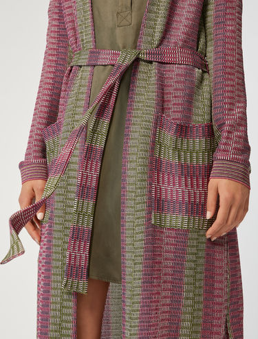 Micro-pattern jersey maxi-cardigan
