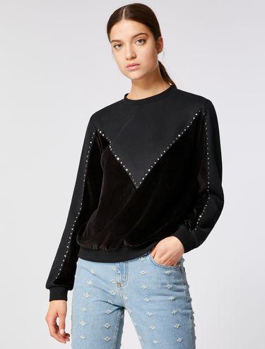 Sweatshirt with velvet insert and rhinestones