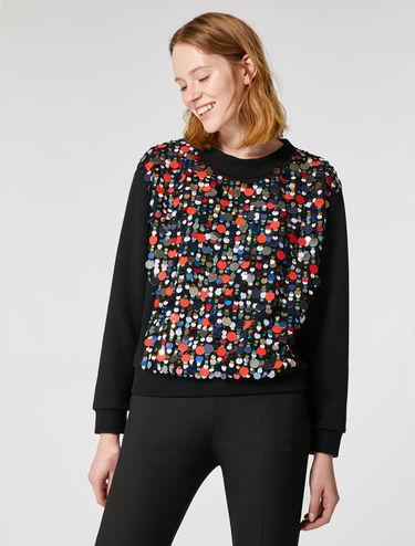Sweatshirt mit Strass Maxi-Pailletten