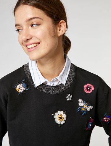 Sweatshirt mit Applikationen und Lamé