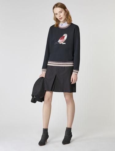 Sweatshirt à appliqués et bords lamés