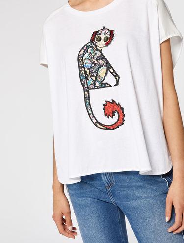 アップリケ オーバーサイズ Tシャツ