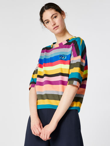 T-shirt rayé multicolore