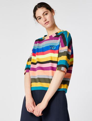 Mehrfarbig gestreiftes T-Shirt