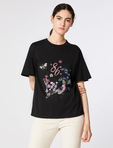 T-shirt à appliqués et imprimés