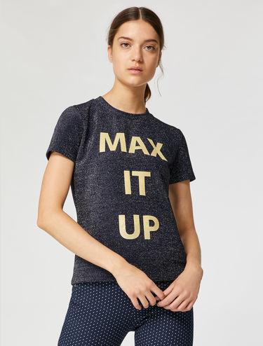 Lamé slogan T-shirt