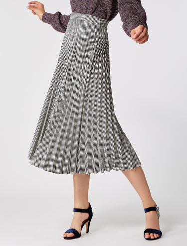 Pleated Houndsthoot Midi Skirt