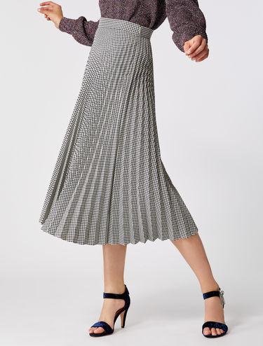 Falda midi plisada de cuadritos Vichy