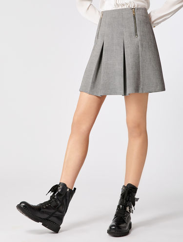 Pleated mini-skirt with zip detail