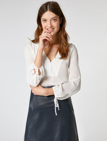 V-neck blouse in sheer crêpe