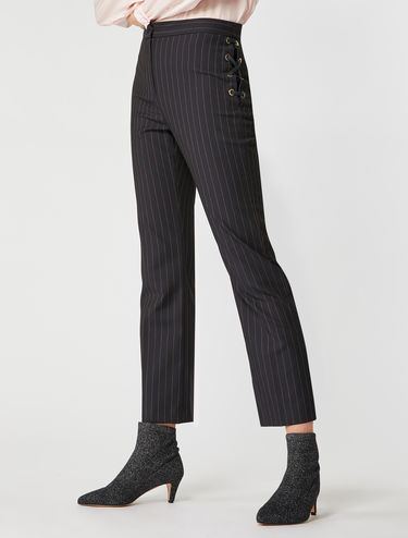 Pinstripe eyelet detail trousers