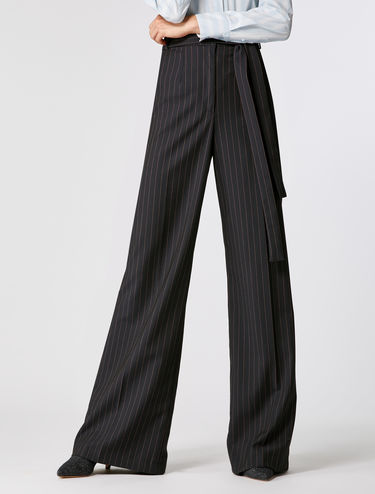 Stretch wide-leg trousers