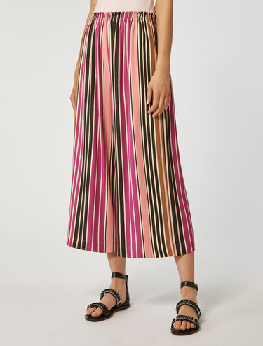 Wide-leg twill trousers