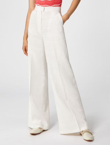 Wide-fit pure linen trousers