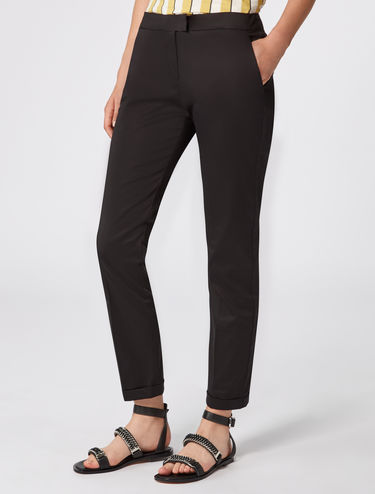 Slim-fit cotton/satin trousers