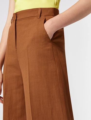 Pantaloni wide-leg di lino e cotone