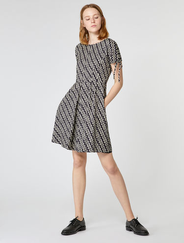 Stretch faille corolla dress