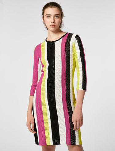 Striped mesh knitted dress