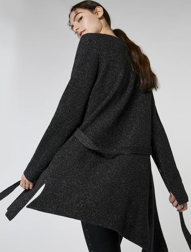 Lamé wool and cashmere cardigan