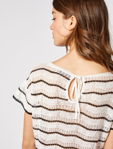 Pure linen mesh sweater