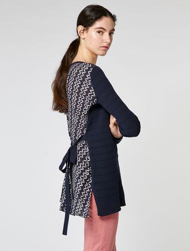 Pull tunique en tissu sablé et tricot