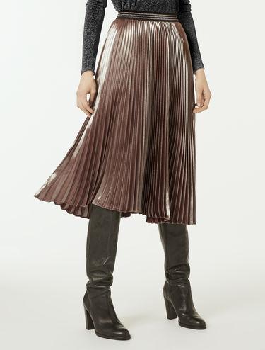 Falda midi plisada brillante
