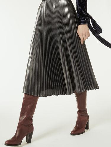 シマー プリーツ ミディスカート
