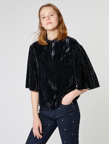 Crinkle velvet blouse
