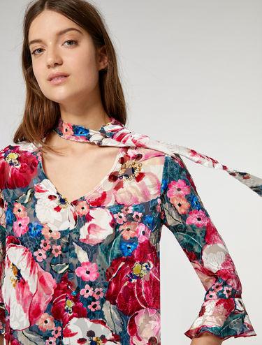 Floral dévoré velvet blouse
