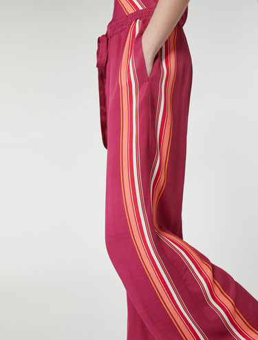 Foulard trousers with striped trim