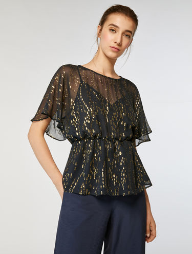 Silk and lamé fil coupé top