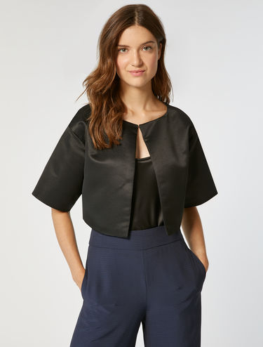 Cropped jacket in ottoman fabric