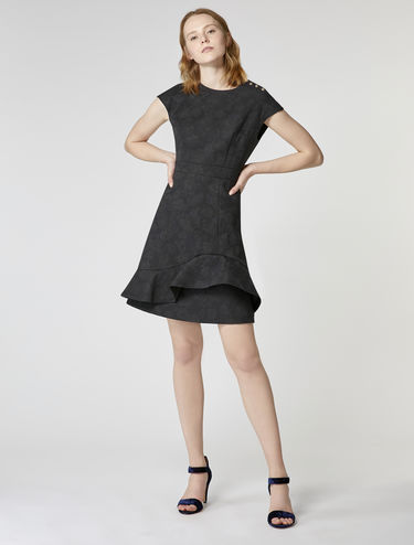 Jacquard ruffle detail dress