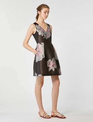 Floral jacquard corolla dress