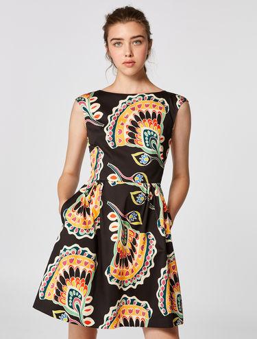 Kleid aus Baumwollsatin mit Stretch/Glockenform