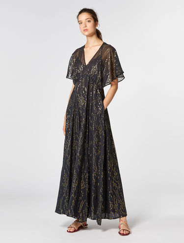 Silk and lamé fil coupé dress