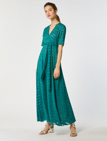 Long fil coupé satin dress